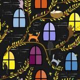 Feekatten bij nacht Kinderachtige achtergrond vector illustratie