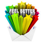 Feel Better Words in Evnelope - Get Well Card. An envelope opening to reveal the words Feel Better, the sentiment of a get well card vector illustration