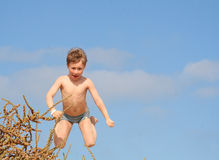 Feel free. A sweet blond boy on his holidays in spain royalty free stock images