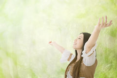 Feel free. Asian woman feel free, closeup portrait royalty free stock images