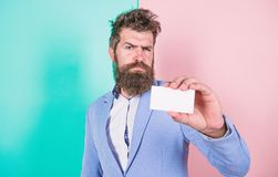 Feel free contact me. Bearded hipster serious face show card. Banking services for business. Business card design royalty free stock photo