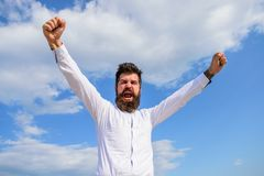 Feel free. Guy emotional shout face proud of himself. Full of energy. Man bearded hipster feels powerful and full of. Energy when reached top achievement. Man royalty free stock photos