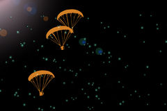 Feel free to fly, paramotor silhouette in dark background. Feel free to fly, paramotor silhouette in dark space background Royalty Free Stock Photos