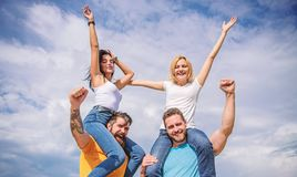 Feel freedom. Cheerful couples dancing. Friends having fun summer open air festival. Men and women enjoy music festival. Visit famous festival during vacation royalty free stock images