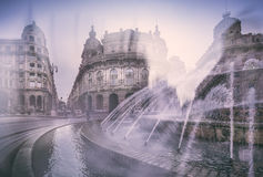 Feel of Genova. Fountain on the central piazza of Genova Stock Image
