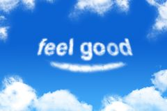 Feel good - cloud word. On blue sky background stock illustration