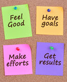Feel good Have goals Make efforts Get results on notes. Feel good Have goals Make efforts Get results on colorful notes Stock Photography