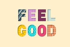 Feel Good Paper Cut Letters. Feeling Well Concept. Vector Illustration stock illustration