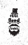 Feel good today. Hipster, mustaches, beard, skate, hat Stock Images