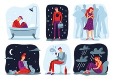 Feel loneliness. Feeling lonely, sad depressive person and social isolation vector illustration set. Feel loneliness. Feeling lonely, sad depressive person and royalty free illustration