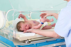 Feel my baby, feel my love. The first day at the hospital Royalty Free Stock Photography