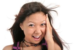 Feel new sensation. Blowing hair young happy girl open mouth Stock Photo