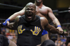 Feel the pain. Independent wrestler Slyck Wagner Brown finds himself in a painful hold in Big Time Wrestling stock image