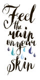 Feel the rain on your skin in vector. Calligraphy postcard or poster graphic design lettering element. Hand written calligraphy st Royalty Free Stock Image