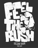 Feel the rush, gym print design vector illustration.  stock illustration