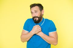 Feel so sorry. Man bearded regretful face, yellow background. Guy bearded sorry gesture. Ask for apologies. Man with. Beard looks pitiful. Man regret about done Royalty Free Stock Images