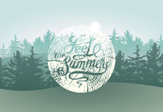 Feel the Summer. Calligraphic Wild Forest and Ecotourism typographical vintage grunge style poster with fir trees landscape. Retro Stock Photo