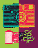 Feel the summer. Typographic retro grunge poster. Vector illustration. Stock Photos