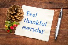 Feel thankful everyday reminder. Handwriting on a napkin with a holiday decoration stock photo