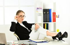 Free Feel Wellness. Sexy Woman With Case At Workstation. Happiness And Success. Businesswoman Holding Briefcase. Suitcase Stock Photos - 181934213