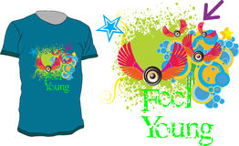 Feel Young. Colorful abstract  t-shirt design with quote - Feel Young Royalty Free Stock Image