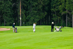 feeld高尔夫球高尔夫球运动员组 库存图片