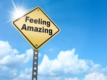 Feeling amazing sign. On blue sky background,3d rendered Royalty Free Stock Image