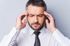 Feeling awful headache. Royalty Free Stock Images
