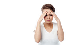 Feeling awful, I am having headache. Royalty Free Stock Images