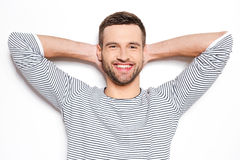 Feeling calm and satisfied. Stock Image