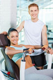 Feeling confident in her instructor. Stock Images