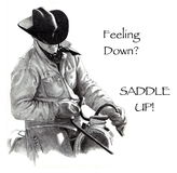 Feeling Down? Saddle Up! Pencil Drawing, Cowboy. My freehand, realism pencil drawing of a cowboy in the saddle, holding the reins Stock Photography
