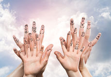 Feeling of family protection. Close view of child and parent hands as symbol of happy family Stock Photo