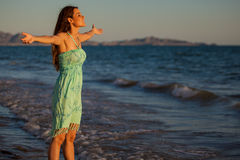Feeling free at the beach Royalty Free Stock Photography