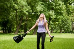 Feeling free - woman in park Stock Photo