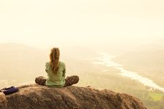 Feeling of freedom and freshness during morning meditation in I Royalty Free Stock Photography