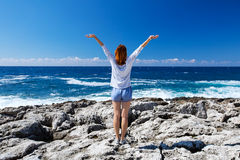 The feeling of freedom on the Mediterranean coast Stock Photography