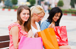 Feeling Good After Big Shopping With The Girls Stock Photography