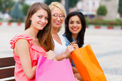 Feeling Good After Big Shopping With The Girls Royalty Free Stock Image