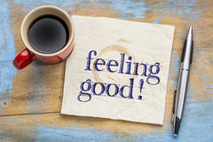 Feeling good handwriting on napkin Royalty Free Stock Photo