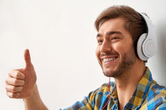 Feeling great with music. Stock Photo