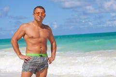 Feeling happy on the Hawaiian beach Stock Images