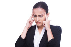 Feeling headache. Stock Images