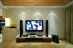 The feeling of home. Video room with hdtv in modern home royalty free stock image