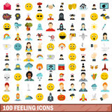 100 feeling icons set, flat style Stock Photos