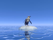 Feeling lonely - 3D render. One penguin standing alone on a small iceberg lost in the middle of the ocean Royalty Free Stock Photo