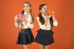 Feeling more alert. Cute schoolgirls holding tea cups. Little children drinking morning tea or coffee. School children royalty free stock image