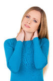 Feeling pain in a neck. Royalty Free Stock Image