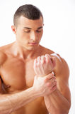 Feeling pain in wrist. royalty free stock images