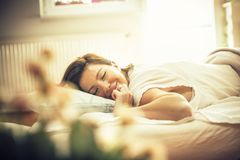 Feeling rested and refreshed. stock images